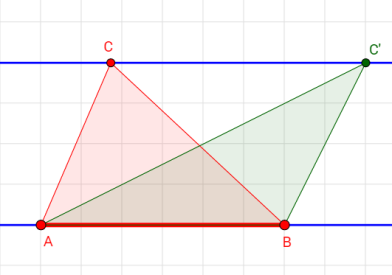 triangles area between parallel lines